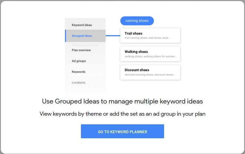 "Using ""Grouped Ideas,"" one can see combined keyword suggestions."