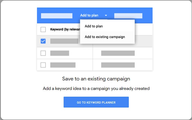"""Add to existing campaign"" streamlines the process of attaching keywords."