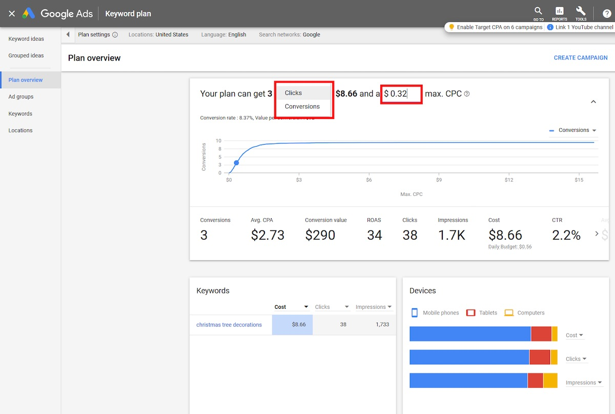 The tool can estimate the number of clicks or conversions for a per-click bid amount.