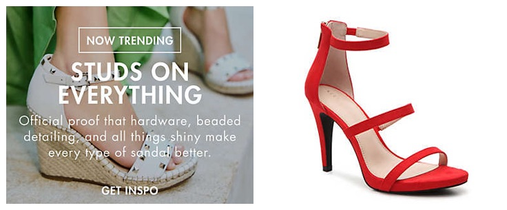 Attempting to optimize a temporary promotional image, such as the one at left from Designer Shoe Warehouse, is likely not worth the effort. Instead, focus on optimizing permanent images, such as the red sandal at right from Kelly & Katie Courtnee.