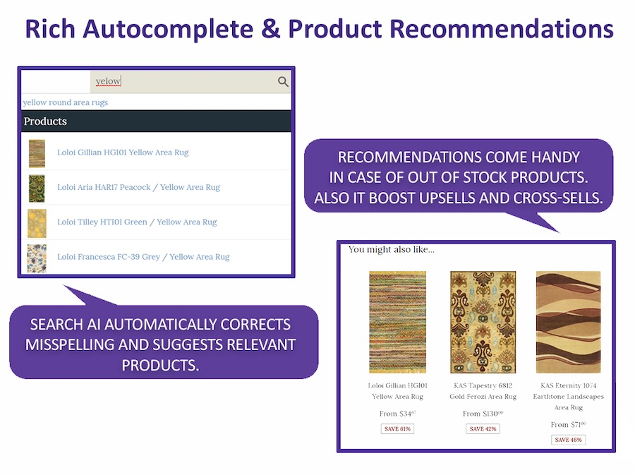 Autocomplete and product recommendations.