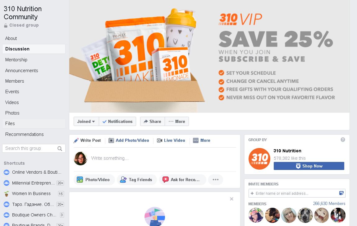 310 Nutrition has an active, engaged Facebook Group with nearly 270,000 members and more than 250 posts a day on average.