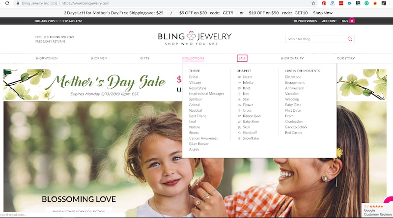 Visitors to BlingJewelry.com can shop by categories, as well as themes, shapes, and occasions. Overall, the site has exceptional navigation.
