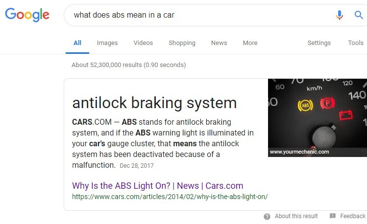 Cars.com Google Answer Box