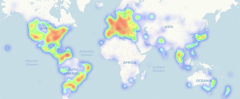 Nearly 15,000 venues worldwide allow consumers to pay using cryptocurrency. This heatmap from CoinMap.org shows the worldwide distribution of those locations.