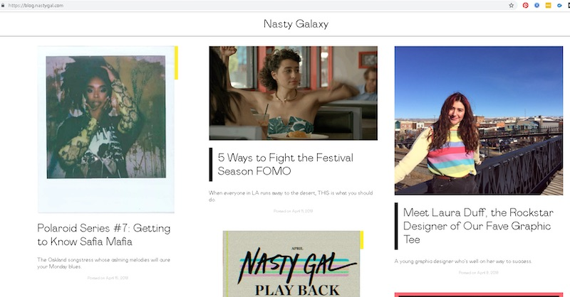 Nasty Gal's blog contains behind-the-scenes posts, as well as instructional tips.