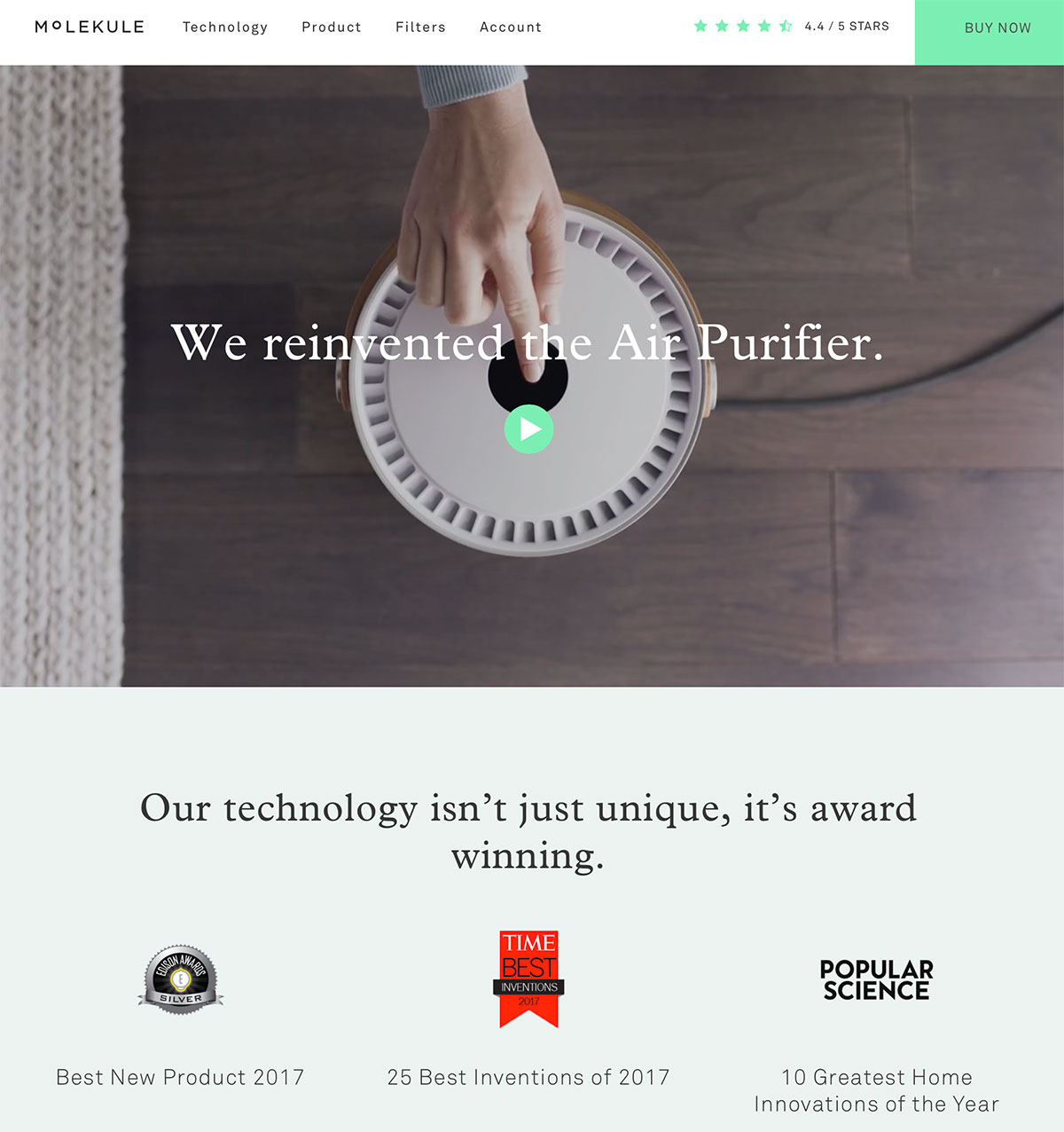 Molekule uses awards and recognition to instill trust, which helps sell its product.