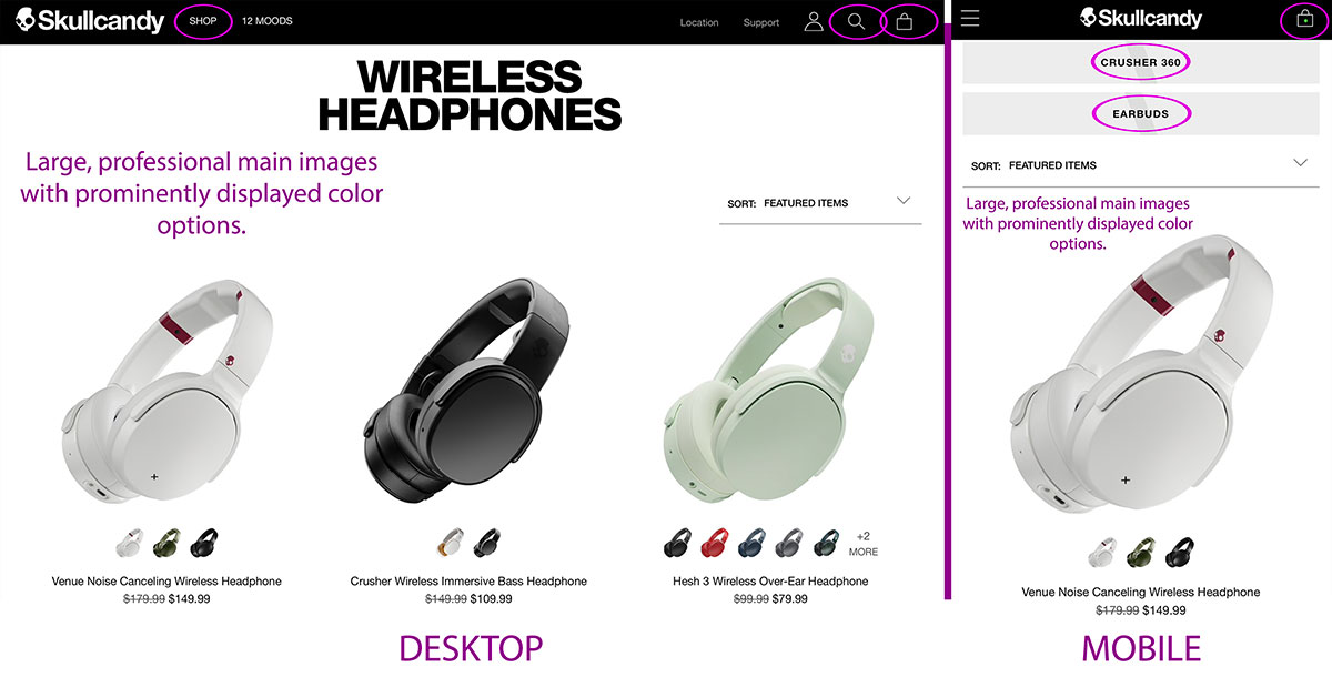 Skullcandy focuses on its products via a simple, modern design.