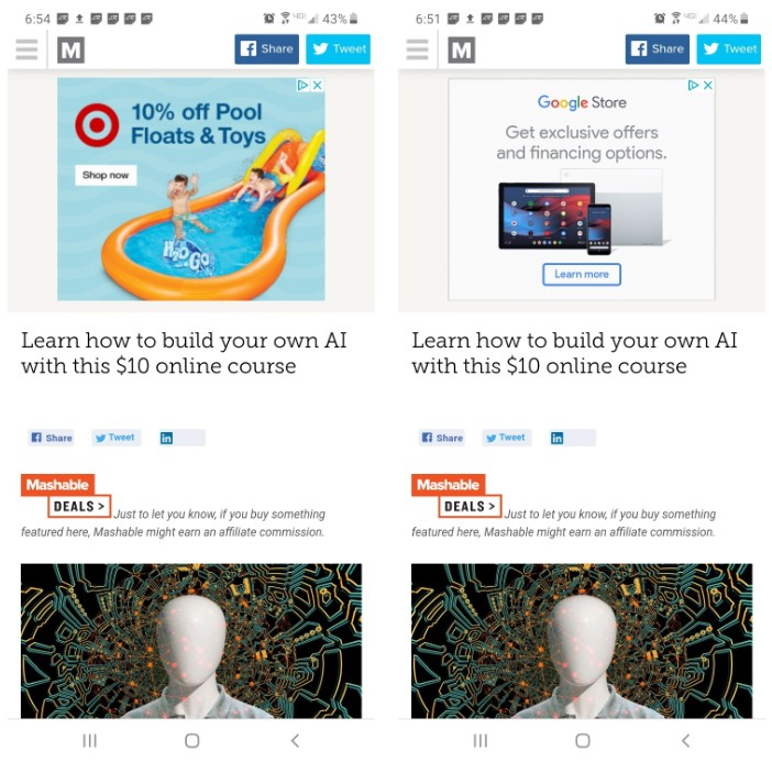 Retargeting ads from Target and Google Store on the same Mashable article.