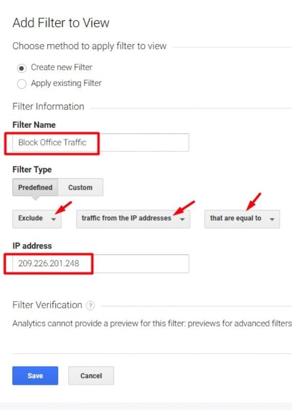 "Select Exclude > traffic from the IP address > that are equal to. Then enter your IP address and click ""Save."""