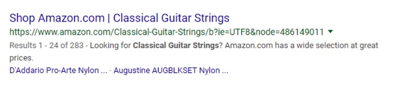 """The listing from Amazon uses the word """"shop"""" — an eye catcher for potential buyers — but it limits the audience to """"classical guitar strings."""""""