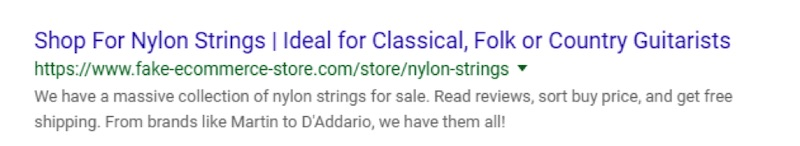 """An ideal listing for nylon guitar strings appeals to the shopper and mitigates ambiguity. This hypothetical example includes variety, social proof, and a carrot of """"free shipping."""""""