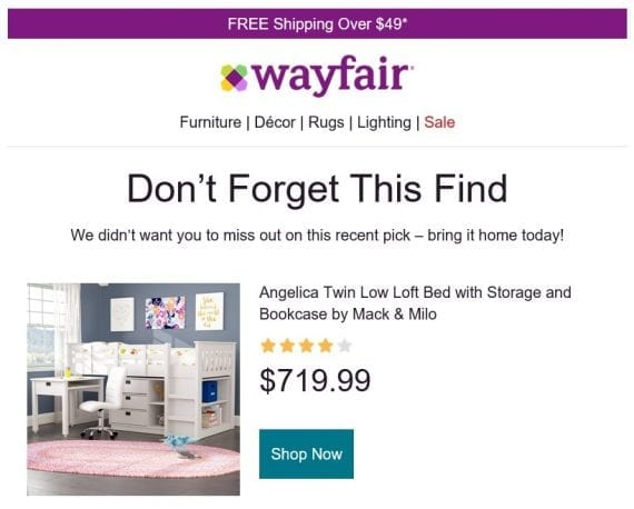 The content of the Wayfair series included offerings personalized to a recent browse session, such as this bed with storage.
