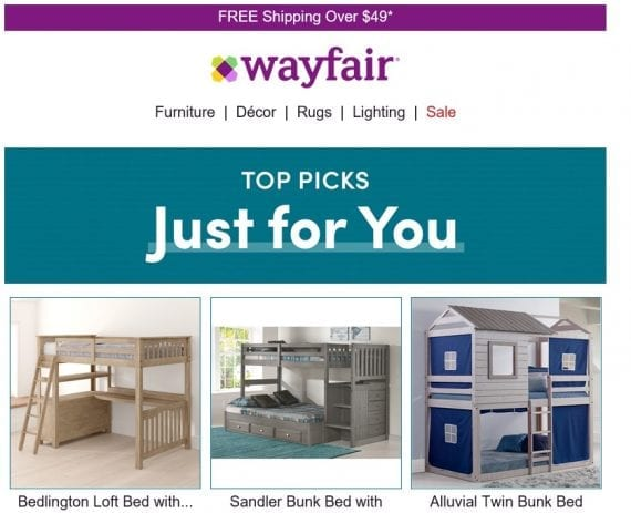 The Wayfair emails also featured the entire category of a recent shopping visit, such as these beds.