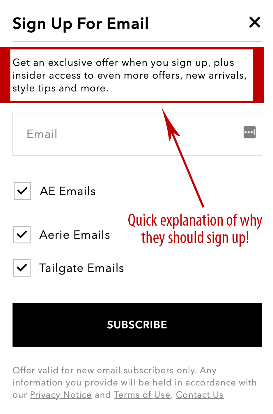 Simplify the email signup form