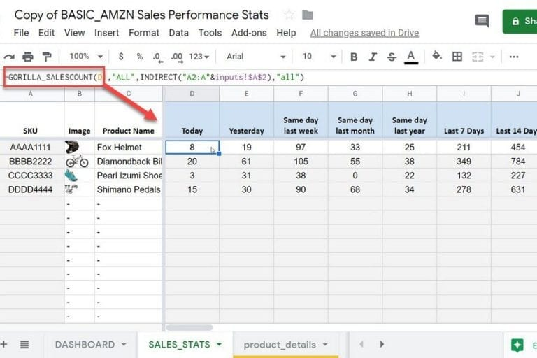 Load inventory numbers straight into Google Sheets. <em>(Click to enlarge.)</em>
