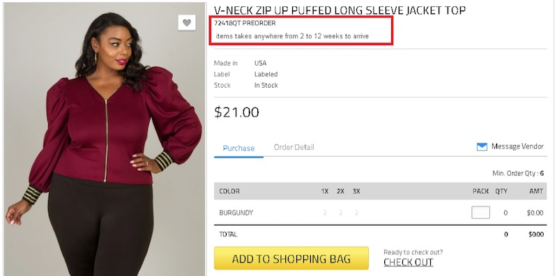 Offering pre-orders is a good way to test product demand without having to purchase the inventory. This example is from an online fashion marketplace.