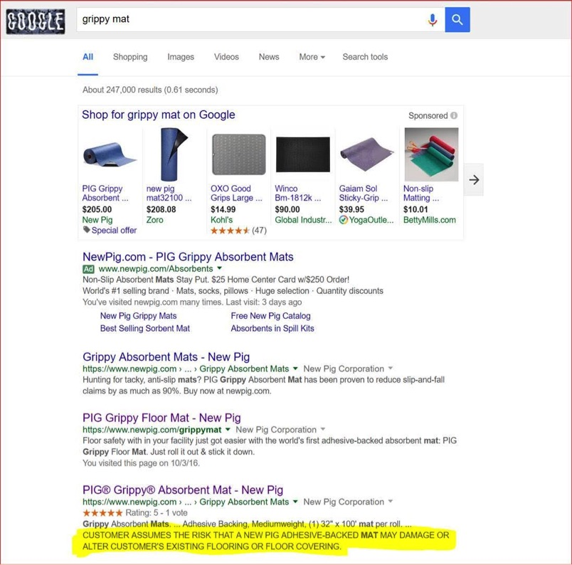 Failure to provide a meta description can be costly. This search snippet from New Pig, a provider of industrial products, states,