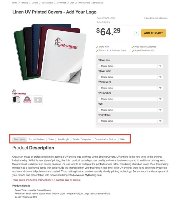 "SEO_Cost_7The product page for ""Linen UV Printed Covers"" on MyBinding.com is rich in content with reviews, customization options, and frequently asked questions."