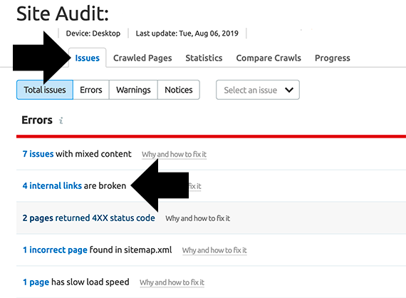 The Issues tab leads to several reports including broken internal links.