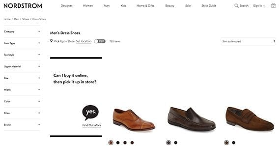 The men's dress shoe category page from Nordstrom had the top organic position on a crowded Google search engine results page.