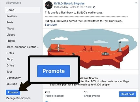 """Creating an ad directly from a Facebook page starts with clicking the """"Promote"""" button."""