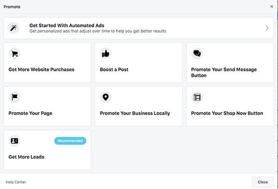 """Facebook starts the ad creation process with a question about what you hope to accomplish. For ecommerce businesses, the goal may be to """"Get More Website Purchases."""""""