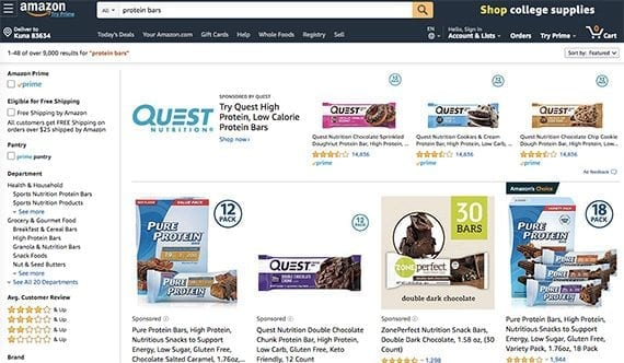 "Amazon's organic search results favor the best-selling products relevant to the query. In this case, that means being the first organic result for ""protein bars"" out of 9,000."