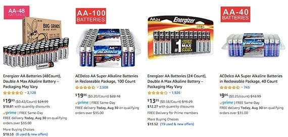 An Amazon search results page, like many ecommerce product search results pages, shows relatively little information. There is a product photograph, a price, a Prime badge, and the product's title.