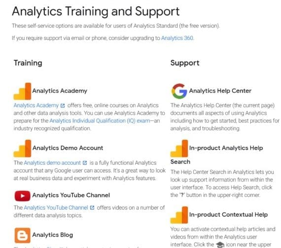 "Google's ""Analytics Training and Support"" page summarizes all learning and support resources."