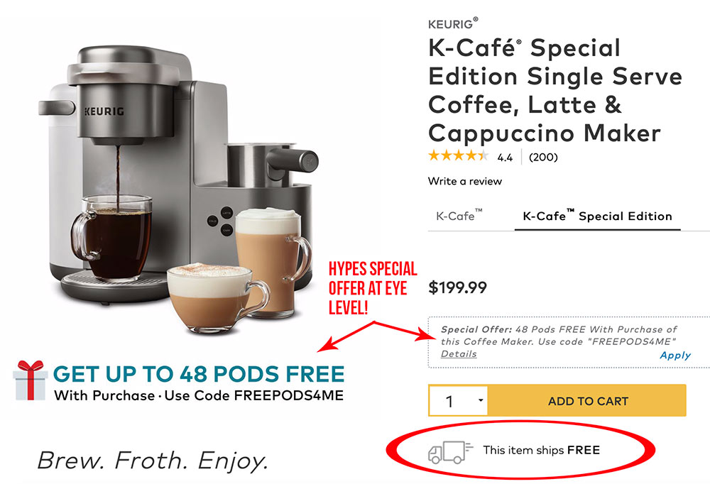 Keurig product page shows the free shipping message and coupon offer right by the add to cart button.