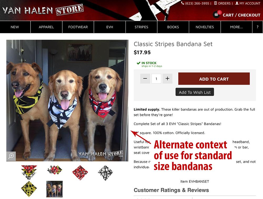 Van Halen Store - Eddie striped bandanas worn by doggies.