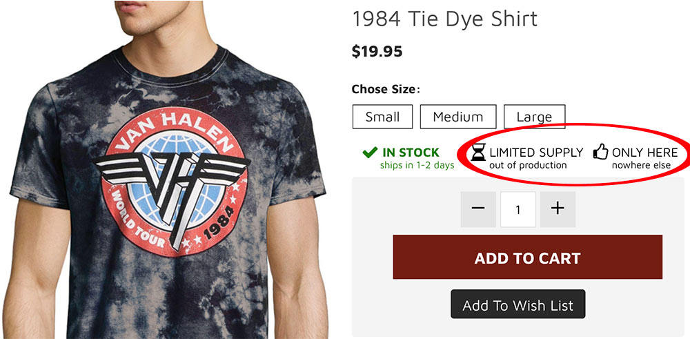 Van Halen Store product page includes simple icons and text to show an item is limited or exclusive.