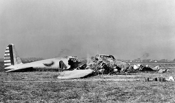 The remains of a Boeing Model 299 after its October 30, 1935, crash.