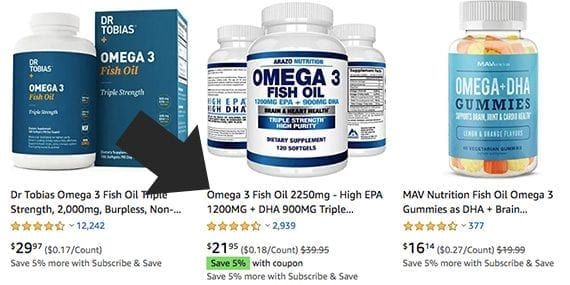 A product will not likely stand out if its title is too similar to the competition, such as these titles for omega-3 fish oil.