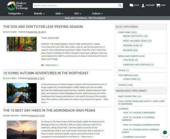Outdoor Gear Exchange's blog offers mainly news and product-use articles.
