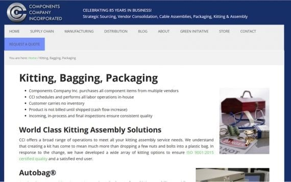 Components Company Incorporated offer kitting, bagging, and packaging as value-added services.