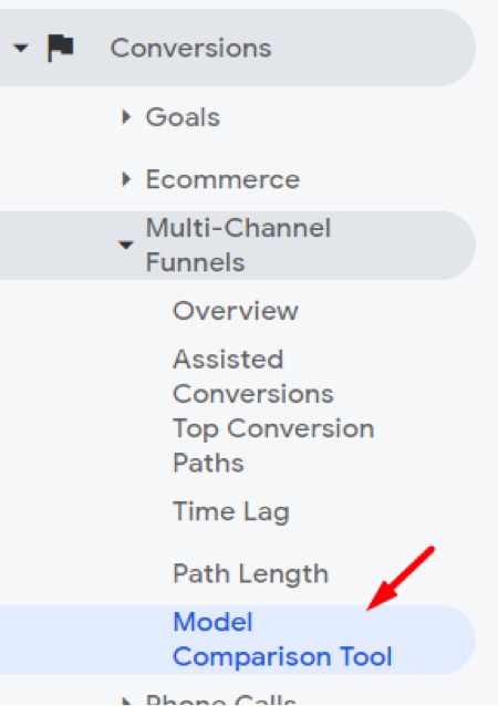 Go to Conversions > Multi-Channel Funnels > Model Comparison Tool in Google Analytics.