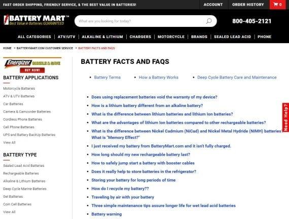 Exemple de contenu de FAQ sur le commerce électronique