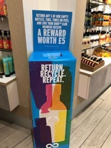 The Body Shop offers an in-store credit for recycling.