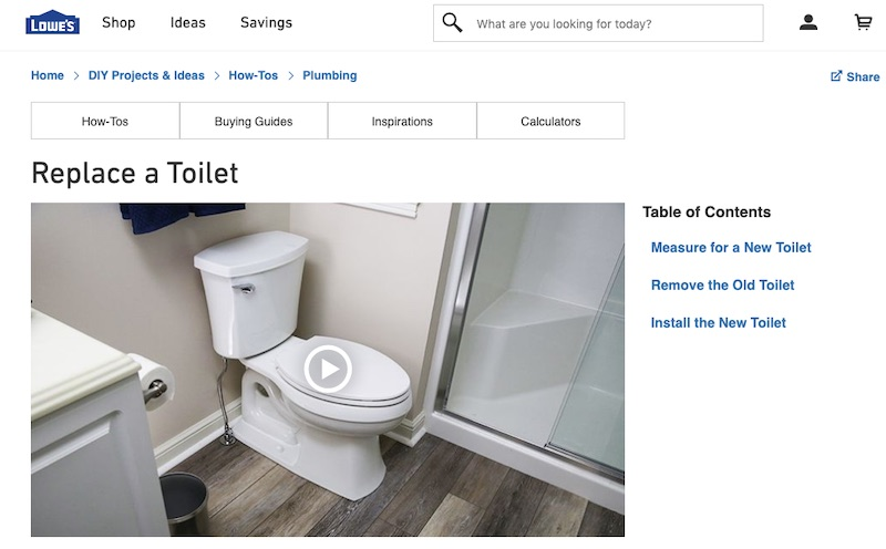 Attracting links to ecommerce product pages is difficult. Links to how-to pages, however, are much easier. Sixty-three quality sites have linked to this instructional page from Lowe's on replacing a toilet.