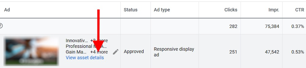 "Click ""View asset details"" for responsive ad reports."