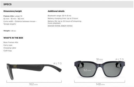 Bose audio sunglasses tech specs