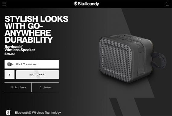 Skullcandy uses a minimalist design on product pages