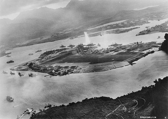 A photo of Pearl Harbor taken from a Japanese aircraft.
