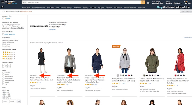 "Searching for ""the Amazon coat"" produces three ""Sponsored"" ads and one ""Best Seller."""