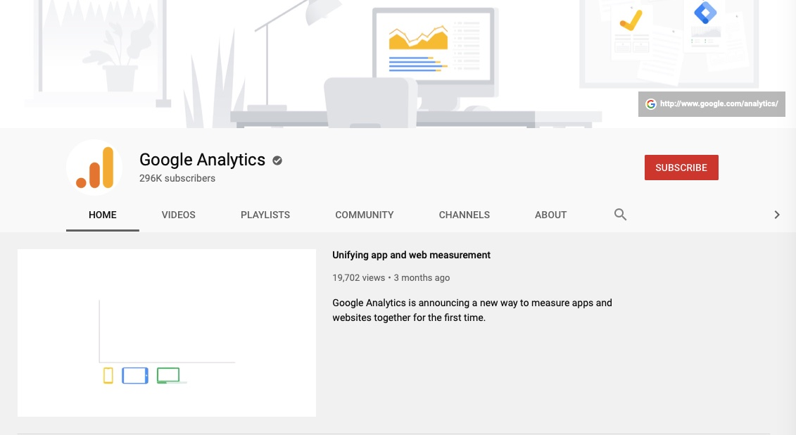 Google Analytics YouTube channel.
