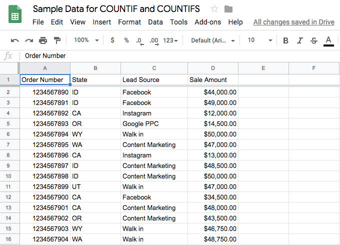 The example or sample data as it appeared in a Google Sheet. Notice the four columns of data; our examples will focus on state and lead source.