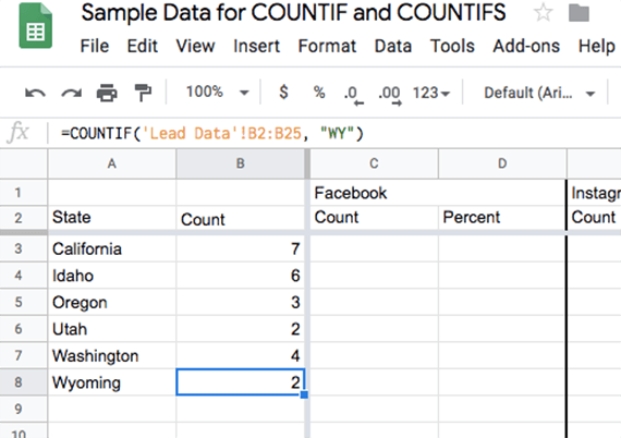 Use the COUNTIF formula to obtain a count for each of the states in consideration.