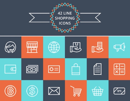 42 Line Shopping Icons